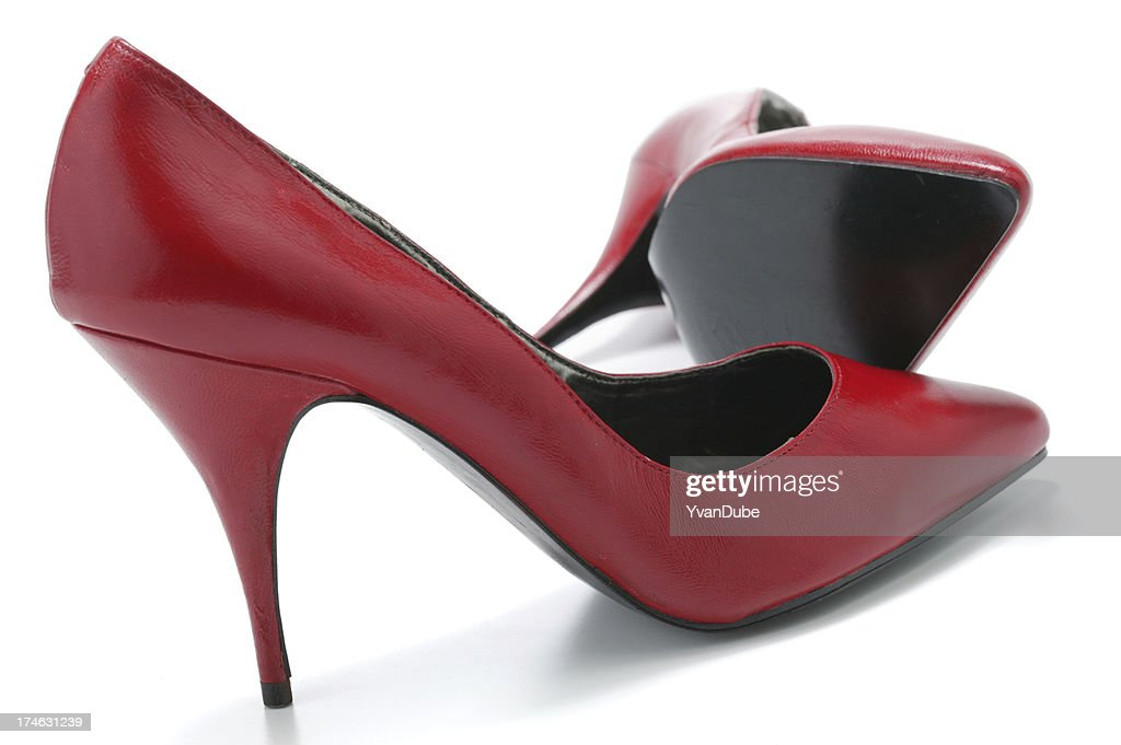 red woman's shoes(with clipping path)