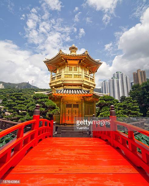 Red wooden Arch Bridge and Golden Pavilion