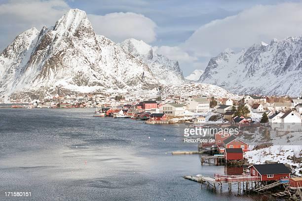Red wooden homes (rorbuer) in Reine on Lofoten Islands, Norway
