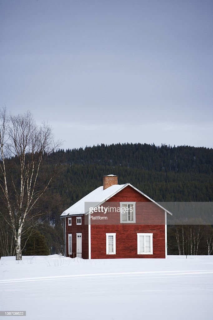 A red wooden house, Norrland, Sweden.