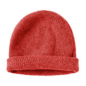 Red  worm winter woolen hat cap flat isolated on white