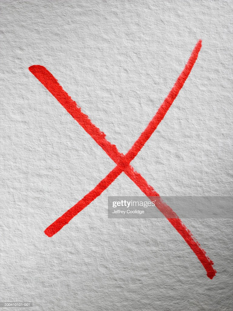 Red x on white background : Stock Photo