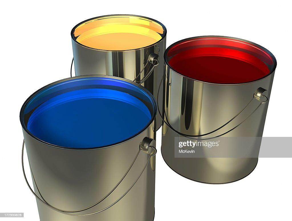 rouge et jaune peinture bleue cans photo getty images. Black Bedroom Furniture Sets. Home Design Ideas