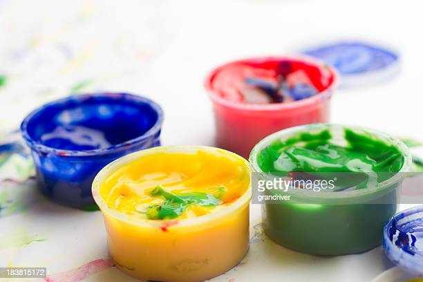 Red, Yellow, Blue, and Green Finger Paints