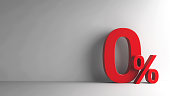 Red Zero Percent sign on grey background, three-dimensional rendering, 3D illustration