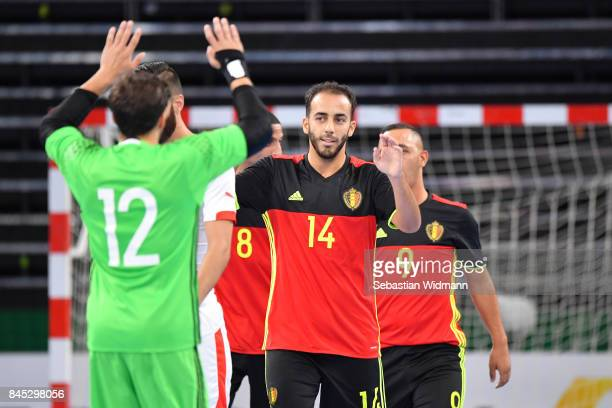 Reda Dahbi of Belgium celebrates scoring his teams first goal uring the Futsal Four Nations Tournament match between Belgium and Switzerland at...