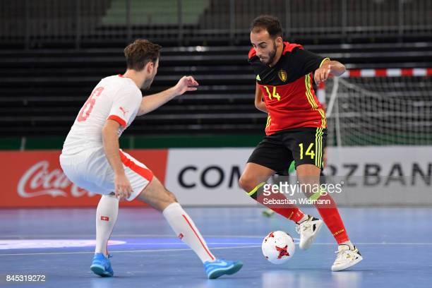 Reda Dahbi of Belgium controls the ball during the Futsal Four Nations Tournament match between Belgium and Switzerland at ratiopharm arena on...