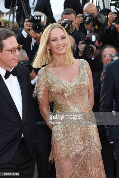 Reda Kateb and Uma Thurman attend the Closing Ceremony during the 70th annual Cannes Film Festival at Palais des Festivals on May 28 2017 in Cannes...