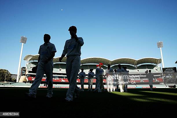 Redbacks players leave the field after day three of the Sheffield Shield match between South Australia and Queensland at Adelaide Oval on November 2...