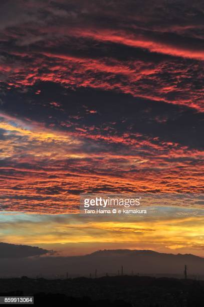 Red-colored sunset clouds on mount Tanzawa in Kanagawa prefecture in Japan