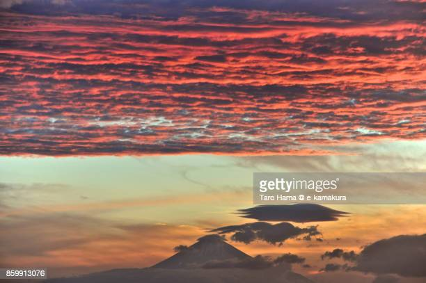 Red-colored sunset clouds on Mt. Fuji in Japan