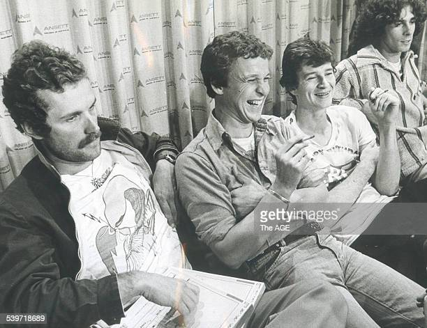 Reddie Strauks Shirley Strachan Red Symons and Bongo Star of the Australia band Skyhooks during an interview 21 June 1976 The Age picture by JOHN HART