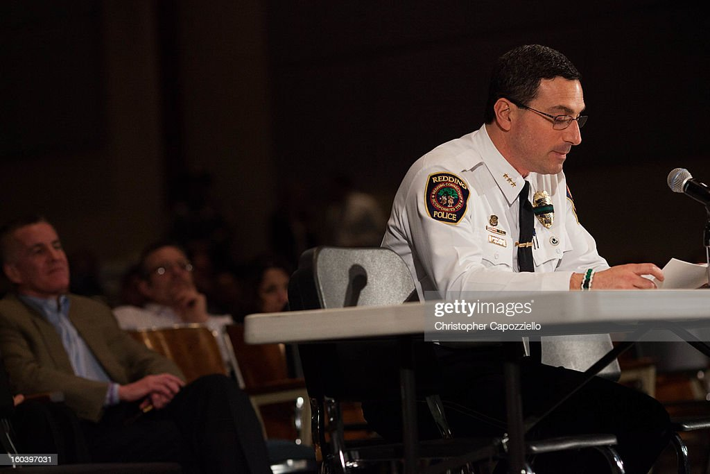 Redding Connecticut Police Chief Douglas Fuchs speaks as Connecticut state politicians and members of the community gather for Connecticut's Bipartisan Task Force on Gun Violence Prevention and Children's Safety, on January 30, 2013 in Newtown, Connecticut. The task force was created in response to the shooting at Sandy Hook Elementary School that took the lives of 20 first graders and six staff members on December 14. The taskforce heard testimony from local officials, first responders and families of the Sandy Hook Elementary system.