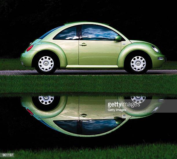 A redesigned Volkswagen Beetle is displayed in this undated file photograph Volkswagen officially opened a new assembly hall near Dresden Germany...