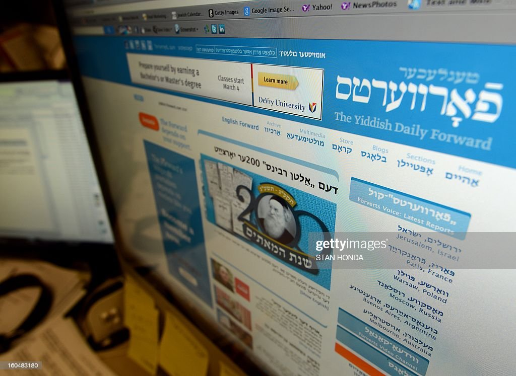 A redesigned website of The Yiddish Daily Forward is seen February 1, 2013 in the newspapers' office in New York. The Yiddish website, part of the 115-year old Jewish newspaper, will be launched on February 4. AFP PHOTO/Stan HONDA