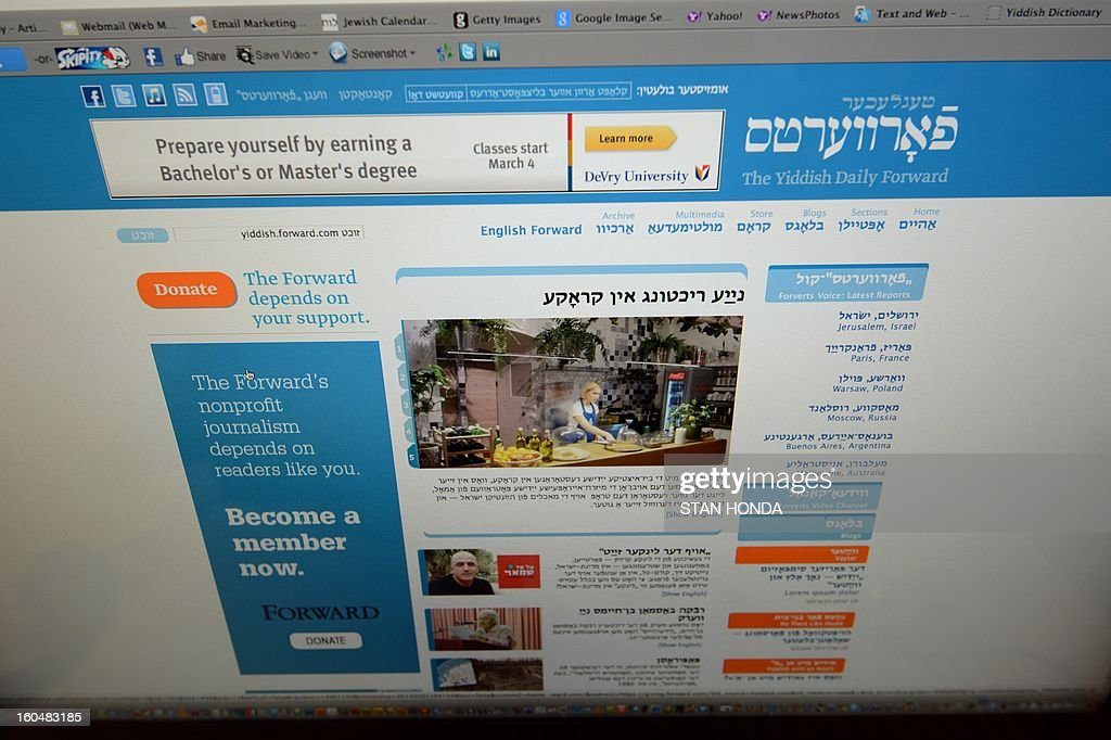 A redesigned website of The Yiddish Daily Forward is seen February 1, 2013 on a computer screen in the newspapers' office in New York. The Yiddish website, part of the 115-year old Jewish newspaper, will be launched on February 4. AFP PHOTO/Stan HONDA