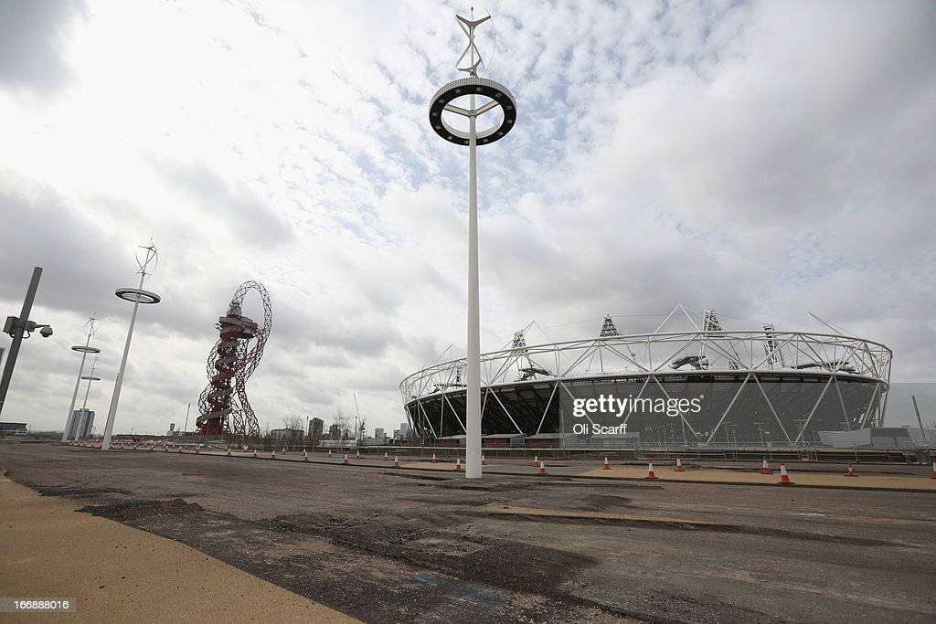 Redevelopment work takes place around the main stadium of London 2012 Olympic Games prior to the opening of a portion of the park to the general public on April 16, 2013 in London, England. In 100 days the first section of the developed site of the 2012 Olympic Games, which will be known as Queen Elizabeth Olympic Park, will welcome visitors. The park's 292 million GBP conversion includes the removal of temporary venues, the refitting of stadia for public use, the removal of Olympic Games sponsor's retail units and extensive landscaping. The re-opening of the northern portion of the park will take place on July 27, 2013, on first anniversary of the London 2012 Olympics, for a festival celebrating the culture of East London. The park will be fully open to the public in spring 2014.