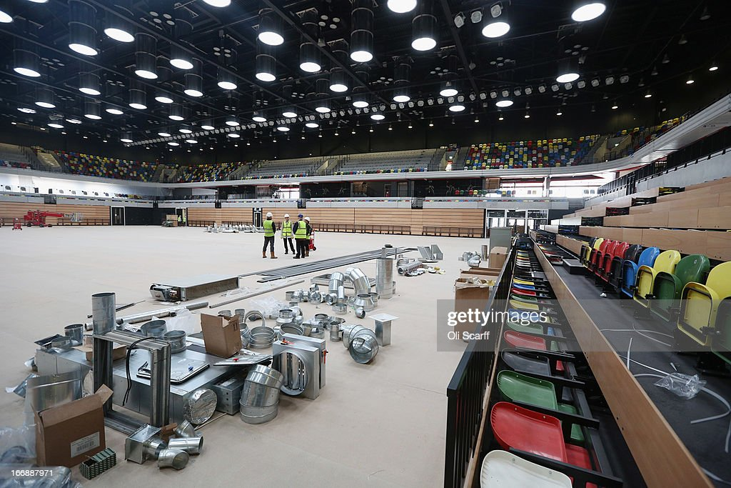 Redevelopment work takes place in the Copper Box which was used in the London 2012 Olympic Games prior to the opening of a portion of the park to the general public on April 16, 2013 in London, England. In 100 days the first section of the developed site of the 2012 Olympic Games, which will be known as Queen Elizabeth Olympic Park, will welcome visitors. The park's 292 million GBP conversion includes the removal of temporary venues, the refitting of stadia for public use, the removal of Olympic Games sponsor's retail units and extensive landscaping. The re-opening of the northern portion of the park will take place on July 27, 2013, on first anniversary of the London 2012 Olympics, for a festival celebrating the culture of East London. The park will be fully open to the public in spring 2014.