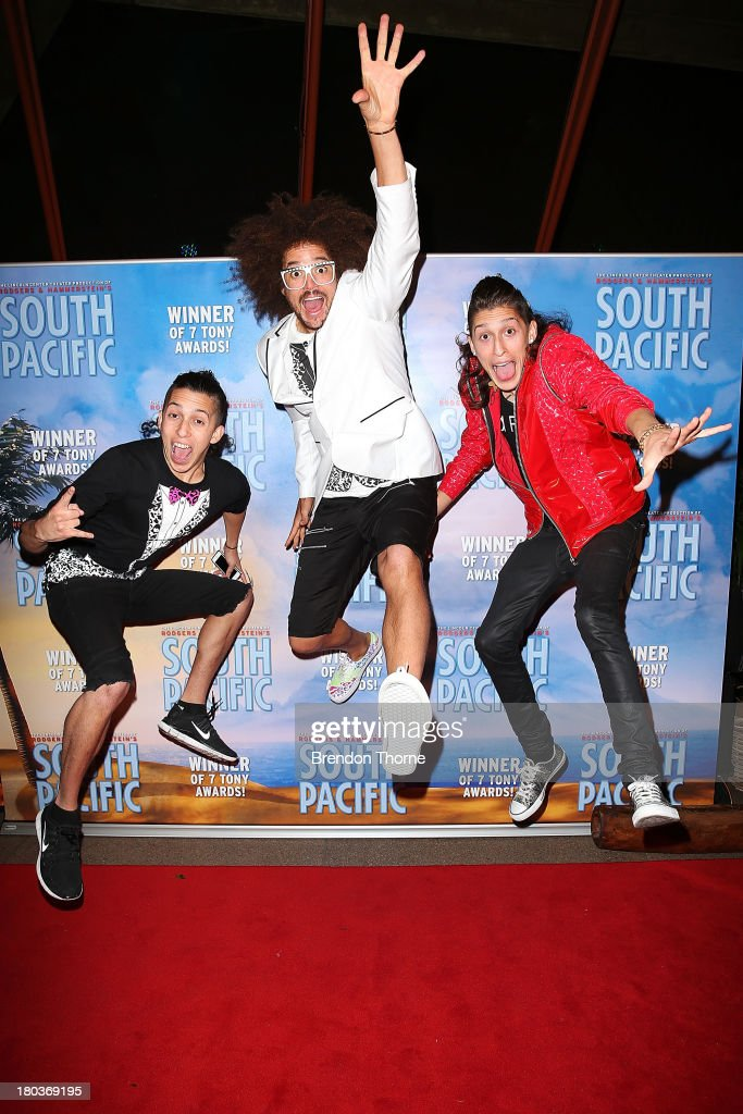 <a gi-track='captionPersonalityLinkClicked' href=/galleries/search?phrase=Redfoo&family=editorial&specificpeople=5857552 ng-click='$event.stopPropagation()'>Redfoo</a> and friends arrives at Opera Australia's 'South Pacific' opening night at the Sydney Opera House on September 12, 2013 in Sydney, Australia.