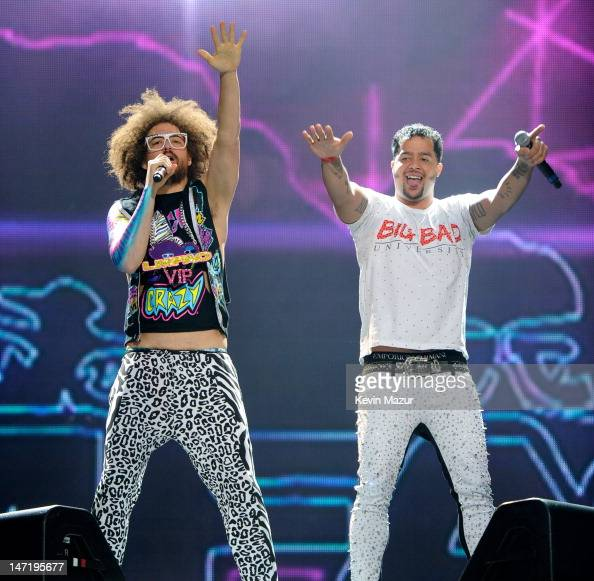 Redfoo and SkyBlu of LMFAO perform at Nassau Veterans Memorial Coliseum on June 26 2012 in Uniondale New York