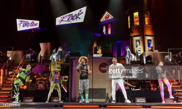 Redfoo and SkyBlu of LMFAO perform at the Wells Fargo Center on June 30 2012 in Philadelphia Pennsylvania