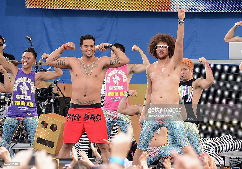Redfoo and SkyBlu of LMFAO perform on ABC's 'Good Morning America' at Rumsey Playfield Central Park on June 29 2012 in New York City