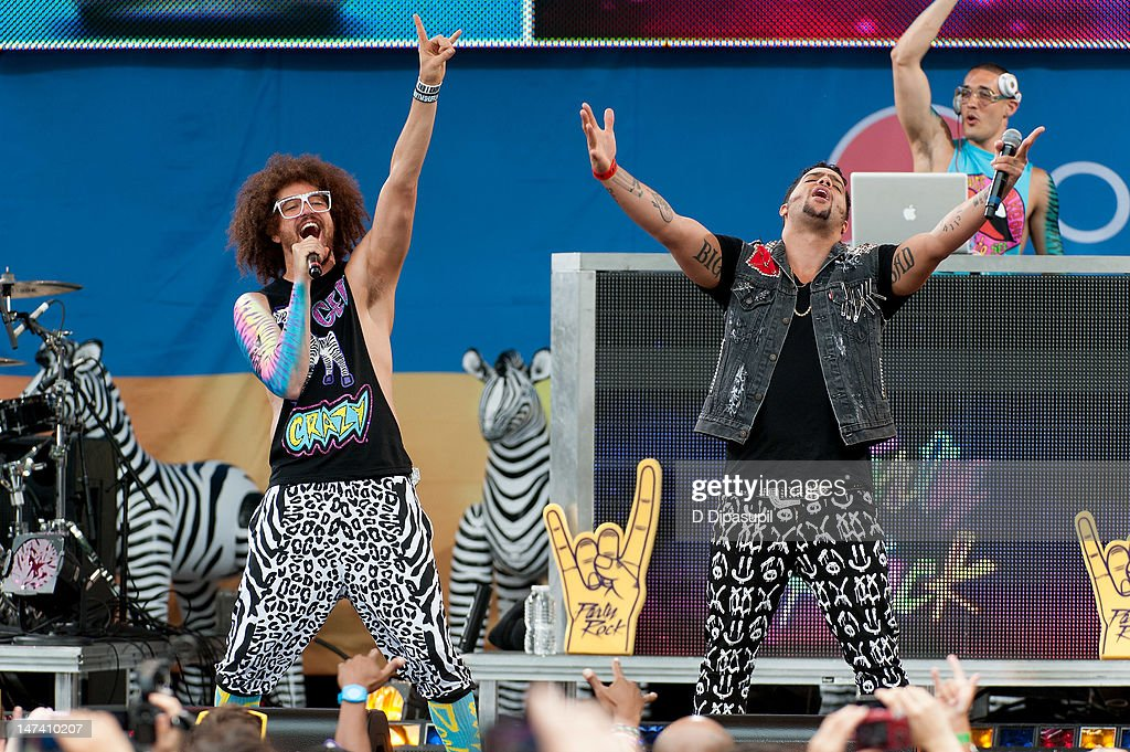 <a gi-track='captionPersonalityLinkClicked' href=/galleries/search?phrase=Redfoo&family=editorial&specificpeople=5857552 ng-click='$event.stopPropagation()'>Redfoo</a> (L) and SkyBlu of <a gi-track='captionPersonalityLinkClicked' href=/galleries/search?phrase=LMFAO&family=editorial&specificpeople=5419624 ng-click='$event.stopPropagation()'>LMFAO</a> perform on ABC's 'Good Morning America' at Rumsey Playfield, Central Park on June 29, 2012 in New York City.