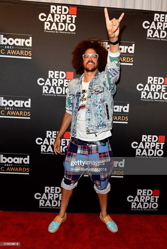 Redfoo of LMFAO at Radio Row during the 2015 Billboard Music Awards at MGM Grand Garden Arena on May 15 2015 in Las Vegas Nevada