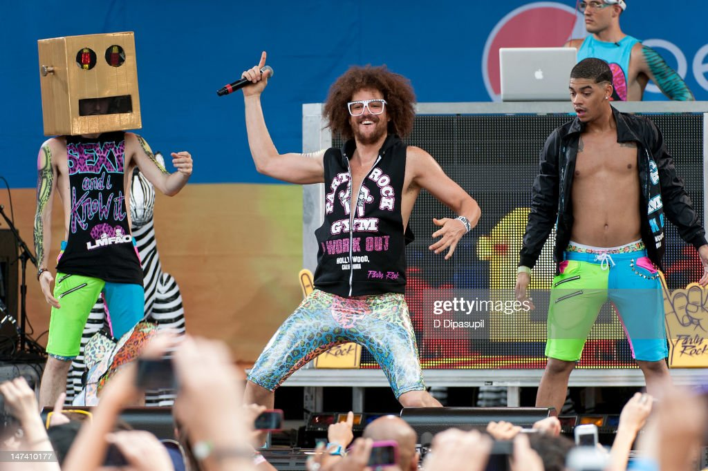 <a gi-track='captionPersonalityLinkClicked' href=/galleries/search?phrase=Redfoo&family=editorial&specificpeople=5857552 ng-click='$event.stopPropagation()'>Redfoo</a> (C) of <a gi-track='captionPersonalityLinkClicked' href=/galleries/search?phrase=LMFAO&family=editorial&specificpeople=5419624 ng-click='$event.stopPropagation()'>LMFAO</a> performs on ABC's 'Good Morning America' at Rumsey Playfield, Central Park on June 29, 2012 in New York City.