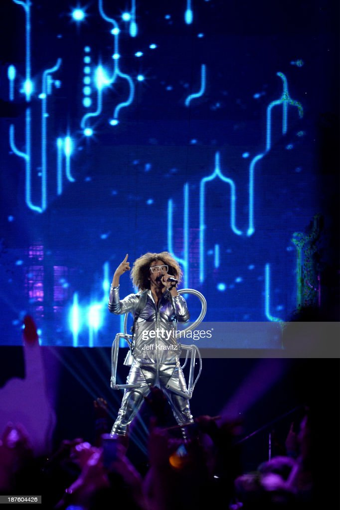 <a gi-track='captionPersonalityLinkClicked' href=/galleries/search?phrase=Redfoo&family=editorial&specificpeople=5857552 ng-click='$event.stopPropagation()'>Redfoo</a> onstage during the MTV EMA's 2013 at the Ziggo Dome on November 10, 2013 in Amsterdam, Netherlands.
