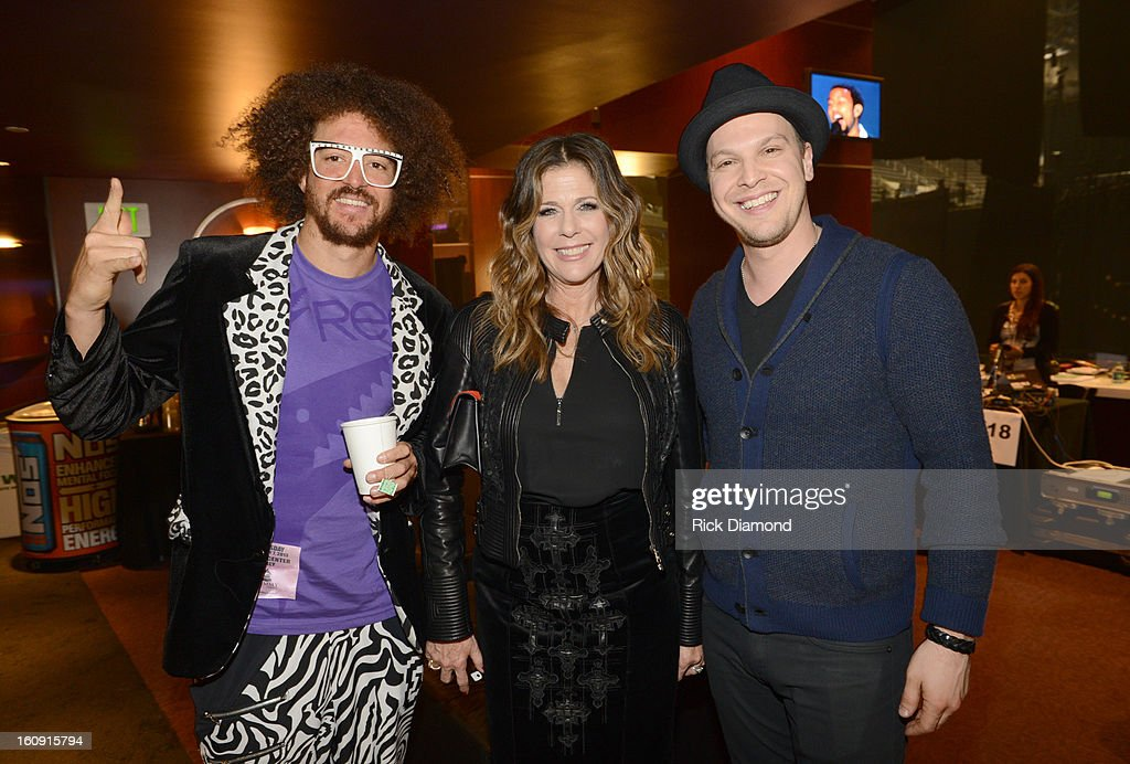 Redfoo, singer/songwriter Gavin DeGraw and actress Rita Wilson pose backstage at the GRAMMYs Dial Global Radio Remotes during The 55th Annual GRAMMY Awards at the STAPLES Center on February 7, 2013 in Los Angeles, California.