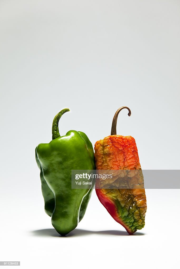 red&green peppers close up : Stock Photo