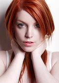 Redhead holding hair