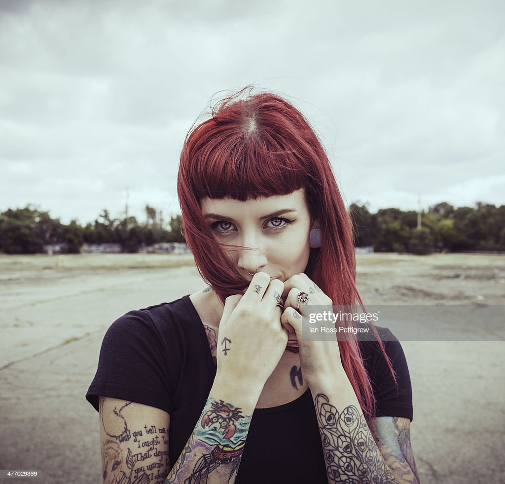 redhead model with tattoos : Stock Photo