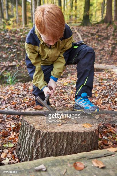 Redheaded boy treating branch with bow in autumnal forest