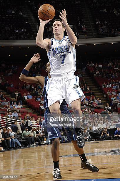 J Redick of Orlando Magic goes up for the shot during the NBA game against Utah Jazz at Amway Arena on December 21 2007 in Orlando Florida NOTE TO...