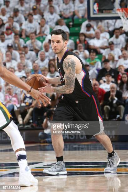J Redick of the LA Clippers handles the ball against the Utah Jazz during Game Three of the Western Conference Quarterfinals of the 2017 NBA Playoffs...