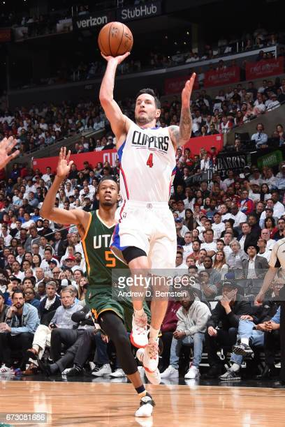 J Redick of the LA Clippers shoots the ball against the Utah Jazz in Game Five of the Western Conference Quarterfinals of the 2017 NBA Playoffs on...
