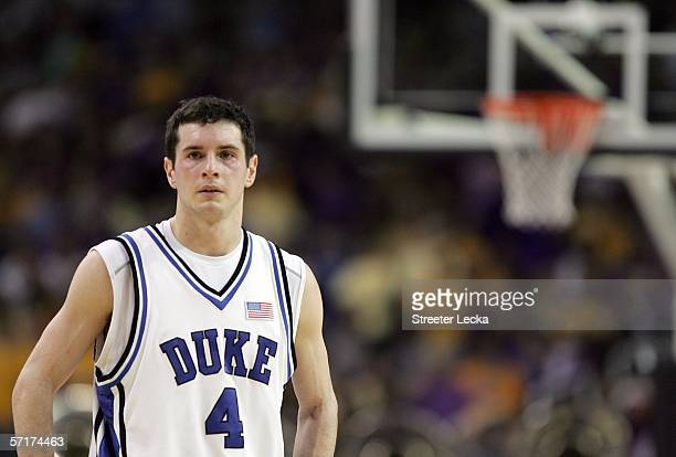 J Redick of the Duke Blue Devils looks down court during third round game of the 2006 NCAA Division I Men's Basketball Tournament Regional against...