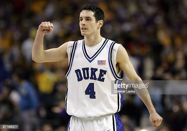 J Redick of the Duke Blue Devils pumps his fist during third round game of the 2006 NCAA Division I Men's Basketball Tournament Regional against the...