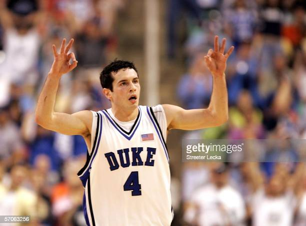 J Redick of the Duke Blue Devils reacts after making a threepoint basket against the Boston College Eagles during the finals of the Atlantic Coast...