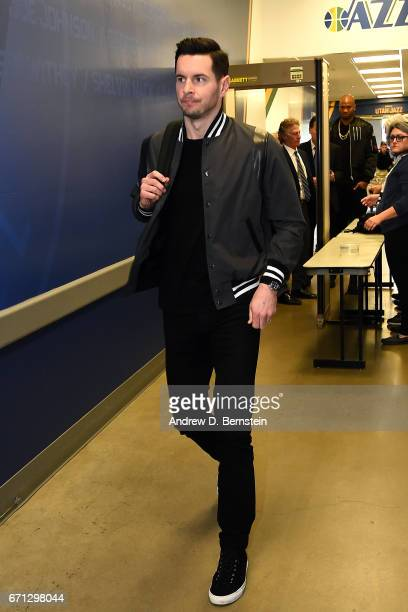 J Redick of the Los Angeles Clippers arrival during the Western Conference Quarterfinals of the 2017 NBA Playoffs on April 21 2017 at Vivint Smart...