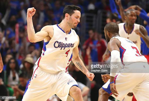 J Redick of the Los Angeles Clippers celebrates after making a three point shot against the Houston Rockets during Game Six of the Western Conference...