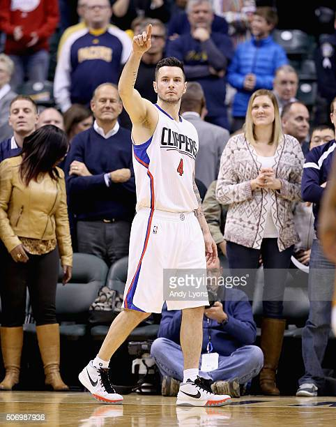 Redick of the Los Angeles Clippers celebrates the 9189 win over the Indiana Pacers at Bankers Life Fieldhouse on January 26 2016 in Indianapolis...