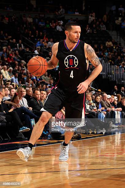 J Redick of the Los Angeles Clippers controls the ball against the Denver Nuggets at Pepsi Center on November 24 2015 in Denver Colorado The Clippers...