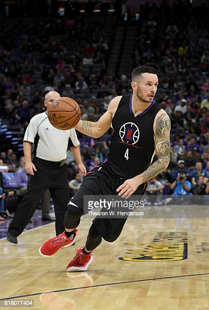 Redick of the Los Angeles Clippers dribbles the ball against the Sacramento Kings during an NBA basketball game at Golden 1 Center on October 18 2016...