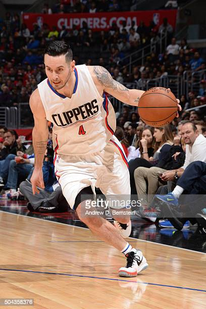 J Redick of the Los Angeles Clippers handles the ball against the New Orleans Pelicans on January 10 2016 at STAPLES Center in Los Angeles California...