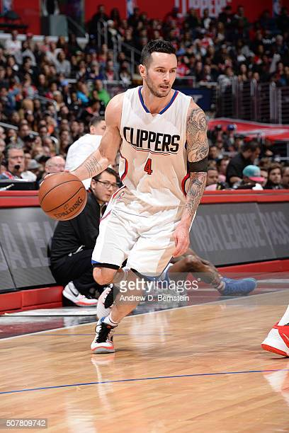 J Redick of the Los Angeles Clippers handles the ball against the Chicago Bulls on January 31 2016 at STAPLES Center in Los Angeles California NOTE...