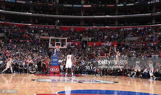 J Redick of the Los Angeles Clippers hits the shot with 5 seconds left in the game to win against the Portland Trail Blazers on March 24 2016 at...