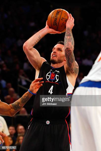 JJ Redick of the Los Angeles Clippers in action against the New York Knicks at Madison Square Garden on February 8 2017 in New York City The Clippers...
